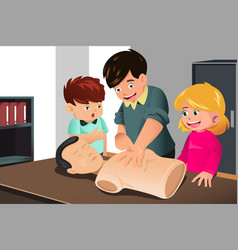 Kids practicing cpr vector
