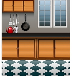 Kitchen with wooden cabinet vector