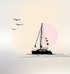 Landscape with Sailing boat vector image