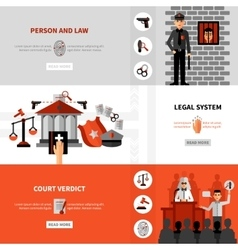 legal law system flat banners set vector image