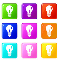 light bulb icons 9 set vector image