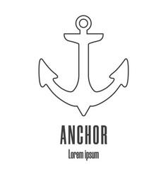 line style icon an anchor maritime logo vector image
