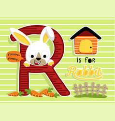 little bunny cartoon on striped background vector image