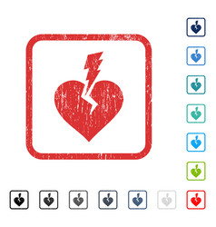 Love heart crash icon rubber watermark vector