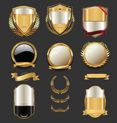 Luxury golden labels retro vintage collection 2 vector