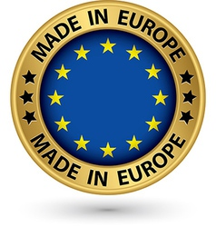 Made in Europe gold label vector