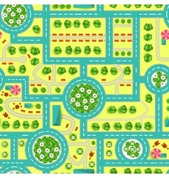 Map of a top view from the city Road and trees vector image