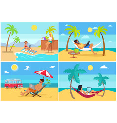 men and women freelance on beach in summer set vector image