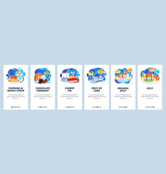 mobile app onboarding screens breakfast sweets vector image