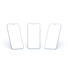 mobile phone side view set white smartphone vector image