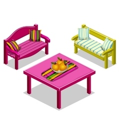 Modern furniture for lounge benches and table vector image vector image