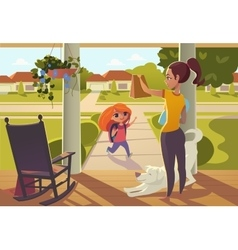 Mother seeing daughter off to school standing on vector