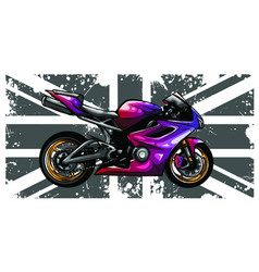 Motorbike with great britain flag in background vector