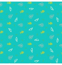 Nautical pattern with shells and fishes vector image