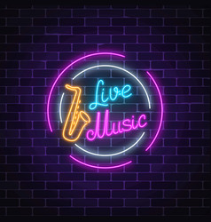 Neon sign of bar with live music advertising vector