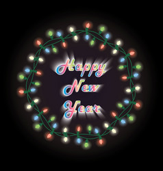new year card christmas wreath with electric vector image