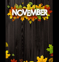 November background with colorful leaves vector