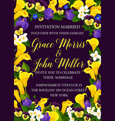 Party invitation card of flowers vector