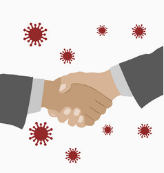 People shaking hands germs floating in air vector