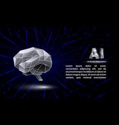 Polygonal artificial intelligence banner vector