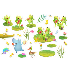 Pond or swamp characters music festival clipart vector