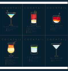 Poster cocktails blue lagoon dark blue vector