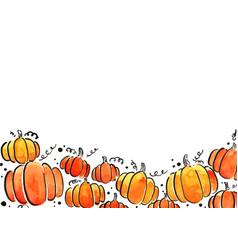 pumpkin watercolor hand painting frame vector image
