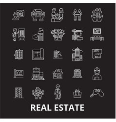 real estate editable line icons set on vector image