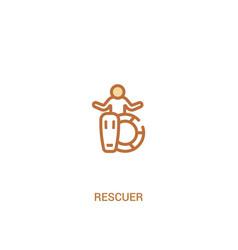 Rescuer concept 2 colored icon simple line vector