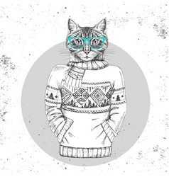 Retro hipster animal cat dressed in pullover vector