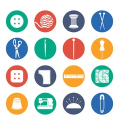Set icon of sewing in flat design vector