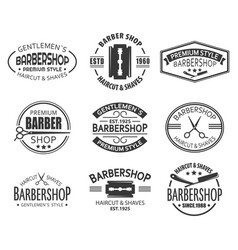 set isolated logo or signs for barber shop vector image