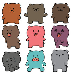 set of bear vector image