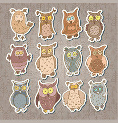 Set of cute stickers with cartoon owls vector