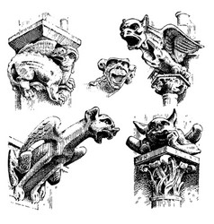 set of gargoyles chimera of notre-dame de paris vector image