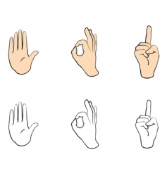set of hand signs vector image vector image