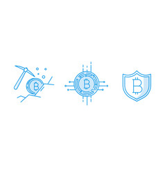 Set of line stroke bitcoin icons vector
