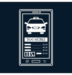 Silhouette smartphone aplication taxi mobile black vector