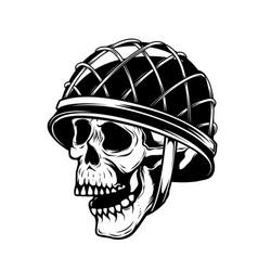Soldier skull in military helmet design element vector