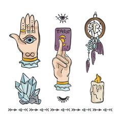 Spiritual hand drawn icon set vector