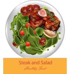steak and spinach salad realistic healthy vector image