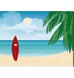 Surfboard beach vacation vector