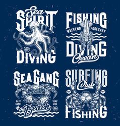 t-shirt prints underwater animals vector image