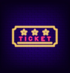 ticket neon sign night light entrance coupon vector image