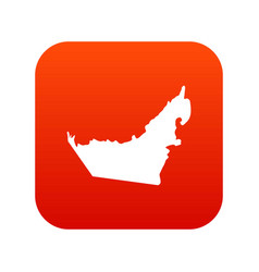 United arab emirates map icon digital red vector