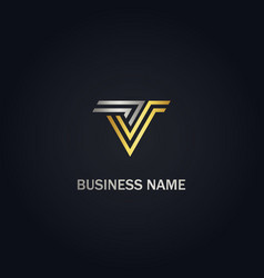 v initial stripe line gold logo vector image