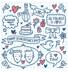 Valentine doodle set drawn on notebook paper vector