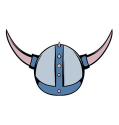Viking helmet icon cartoon vector