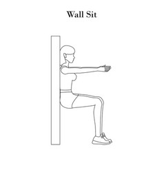 Wall sit workout outline vector