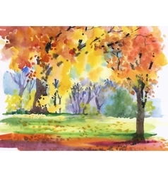 Watercolor autumn park yellow trees vector